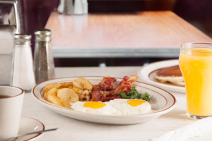 Sunny-Side Eggs with Bacon and Fresh-Cut Home Fries