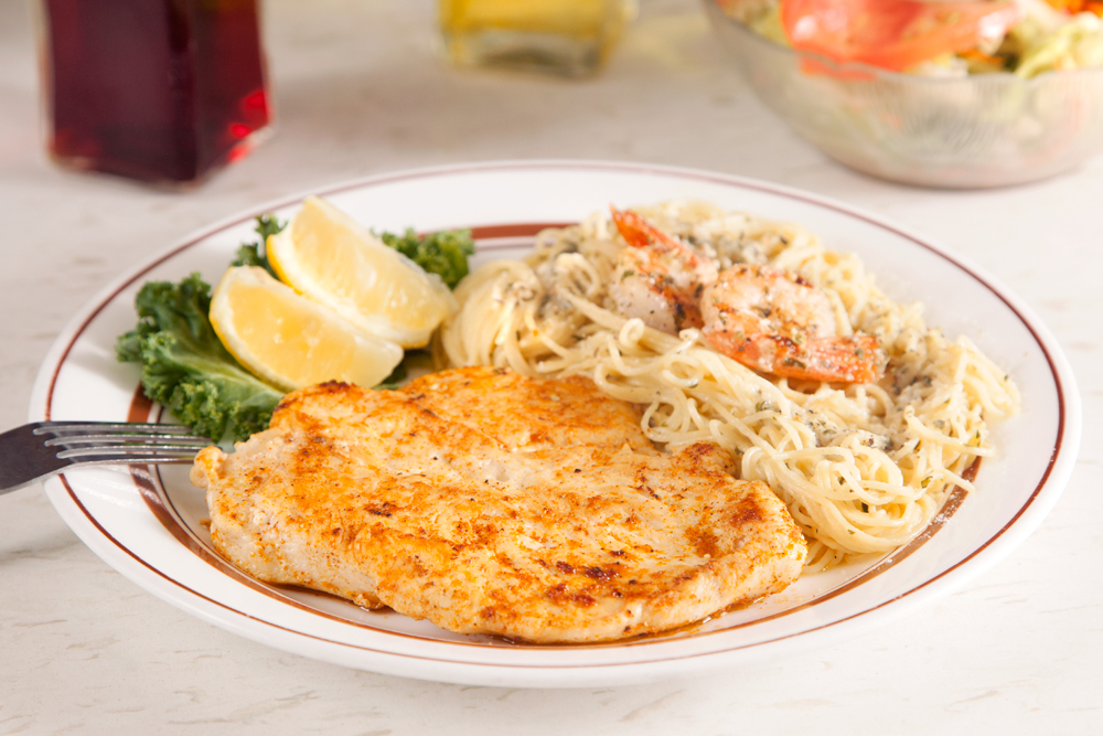 Grilled Chicken and Shrimp with Herb Butter Pasta